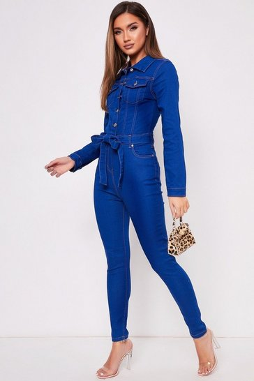 Womens Blue Button Up Tie Waist Jumpsuit