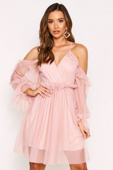 Womens Pink Mesh Strappy Dress