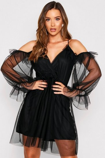 Womens Black Mesh Strappy Dress
