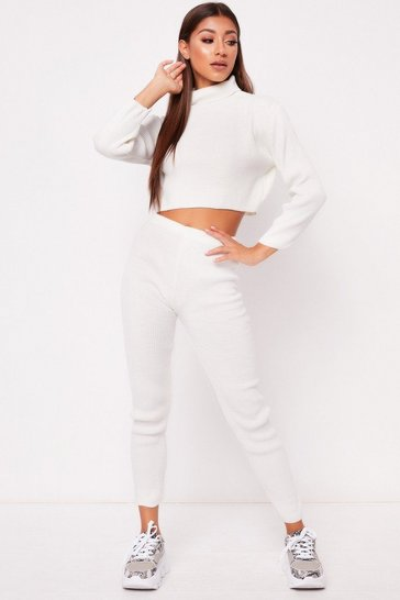 Womens White Ribbed Roll Neck Lounge Set
