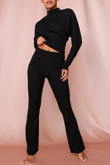 Black Wide Leg Ribbed Loungewear Set