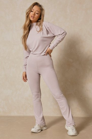 Grey Wide Leg Knot Front loungewear set