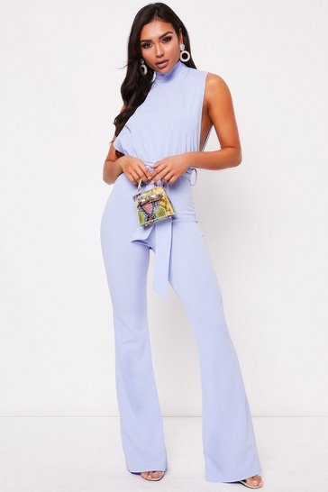 Womens Blue High Neck Belted Jumpsuit