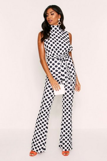 Womens White High Neck Belted Jumpsuit