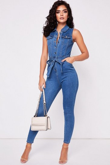 Womens Washed Belted Denim Jumpsuit