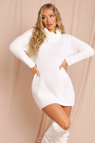 Cream Roll Neck Jumper Dress