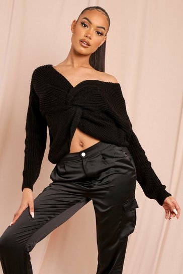 Black Twist Front Knitted Jumper