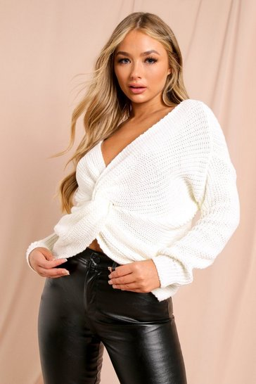 Womens Cream Twist Front Knitted Jumper