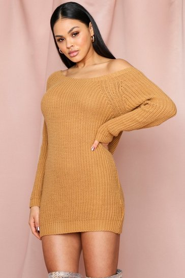 Camel Off The Shoulder Jumper Dress