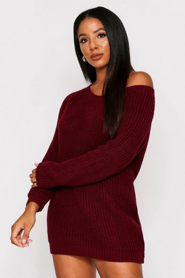 Womens Wine Off The Shoulder Jumper Dress