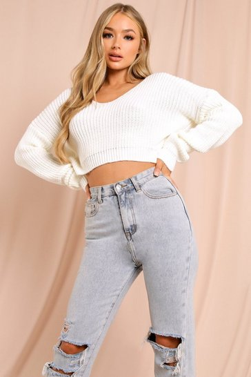 Womens Cream Off Shoulder Cropped Knitted Jumper