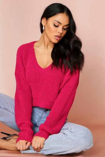 Magenta Off Shoulder Cropped Knitted Jumper