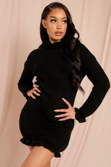 Black High Neck Knitted Dress
