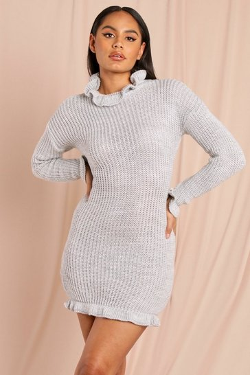 Grey High Neck Knitted Dress