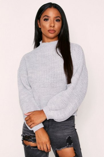 Womens Grey Balloon Sleeve Knitted Jumper