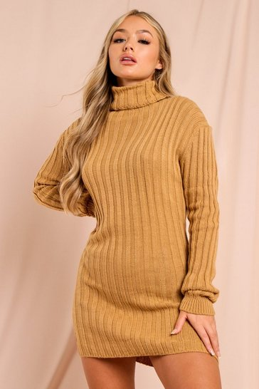 Camel Ribbed Knitted Turtle Neck Sweater Dress