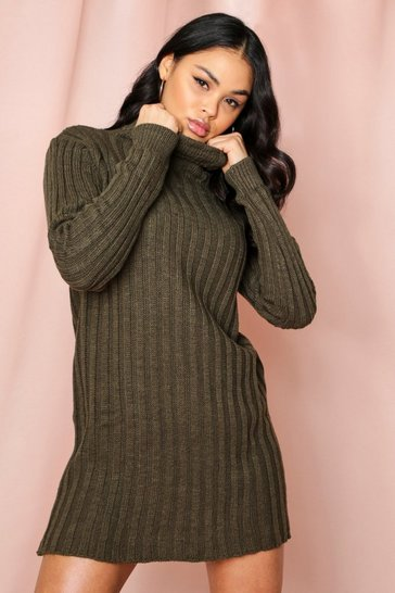 Khaki Ribbed Knitted Turtle Neck Jumper Dress