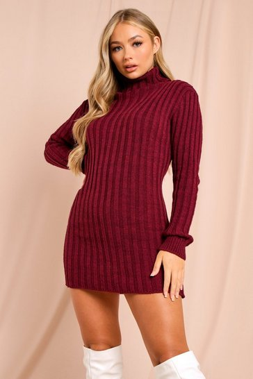 Womens Wine Ribbed Knitted Turtle Neck Jumper Dress