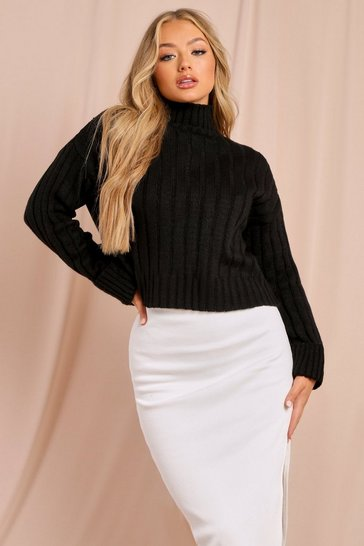 Black Chunky Rib Turtle Neck Jumper