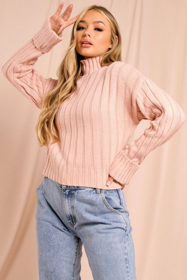 Blush Chunky Rib Turtle Neck Jumper