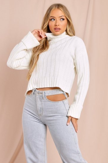 Womens Cream Turtle Neck Jumper