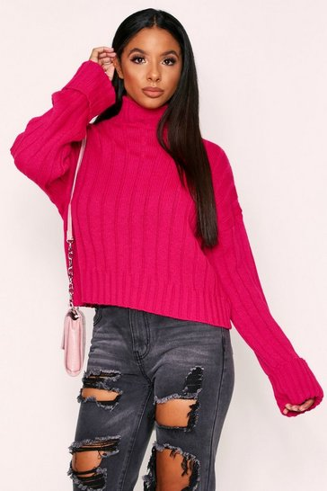 Magenta Turtle Neck Jumper