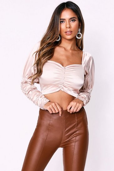 Womens Champagne Satin Bardot Ruched Sleeve Top