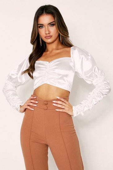 Womens White Satin Bardot Ruched Sleeve Top