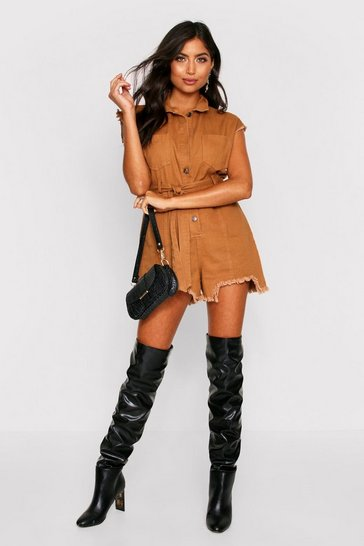 Camel Denim Belted Playsuit