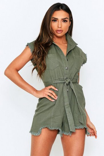 Khaki Denim Belted Playsuit