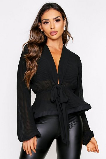 Black pleat tie front blouse
