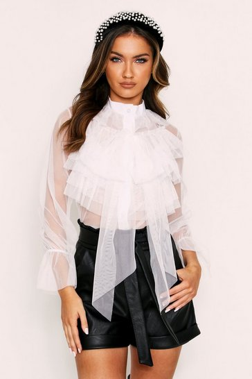 Womens White ruffle front blouse