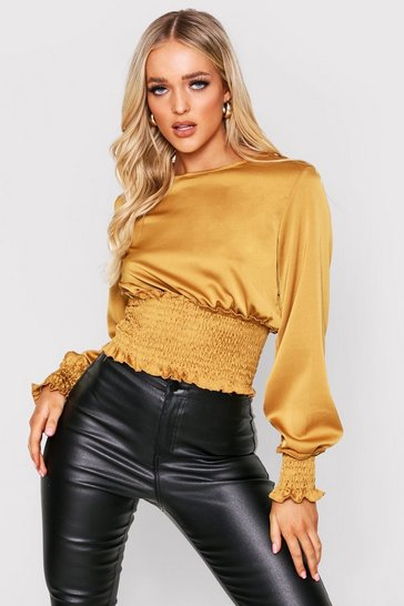 Womens Mustard satin shirred top
