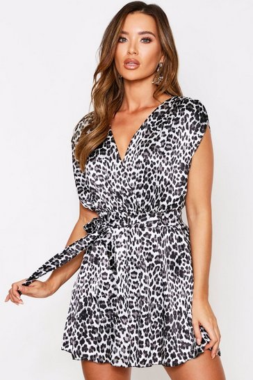 Womens Animal satin wrap dress