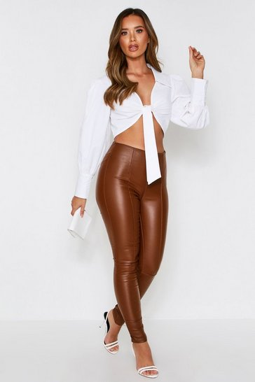 Womens Tan PU Coated Side Zip Trousers