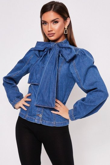 Womens Denim Bow Front Long Sleeve Blouse