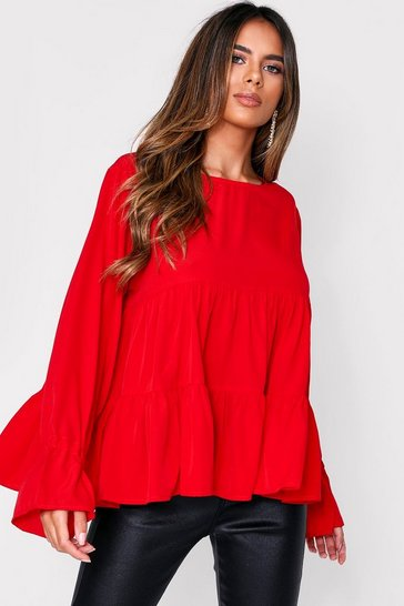 Red Long Sleeve Tiered Shift Top