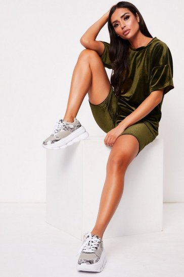Womens Khaki Velour Oversized Shorts Co-Ord