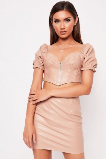 Womens Nude PU Milkmaid Crop Skirt Co-Ord