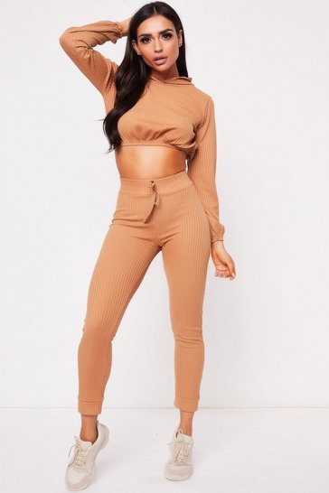 Womens Camel Hooded Ribbed Crop Co-Ord