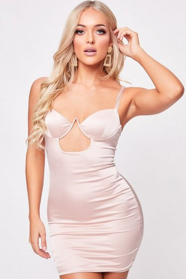 Womens Champagne Satin Cut Out Bodycon Dress