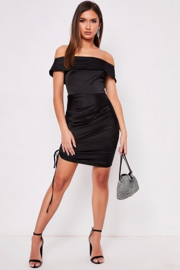 Womens Black Satin Ruched Dress