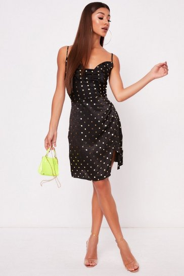 Womens Black Gold Polka Dot Dress
