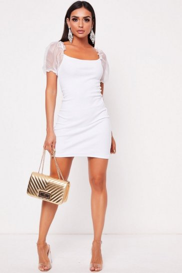 Womens White Mesh Sleeve Ribbed Dress