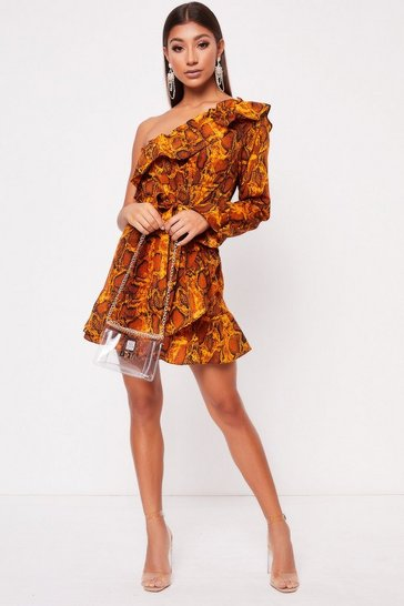 Womens Orange Snake Print One Shoulder Frill Dress