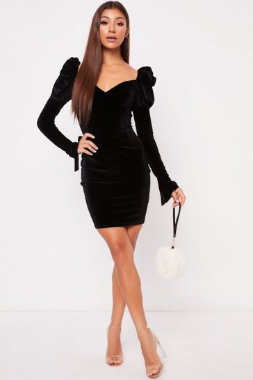 Womens Black Velour Milkmaid Long Sleeve Dress