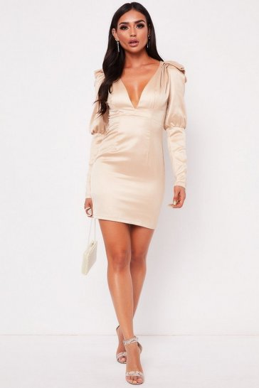 Womens Champagne Plunge Puff Sleeve Dress