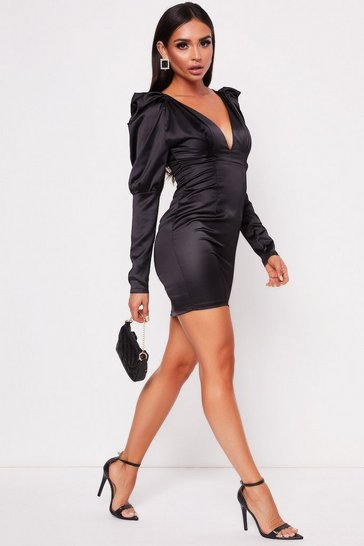 Womens Black Plunge Puff Sleeve Dress