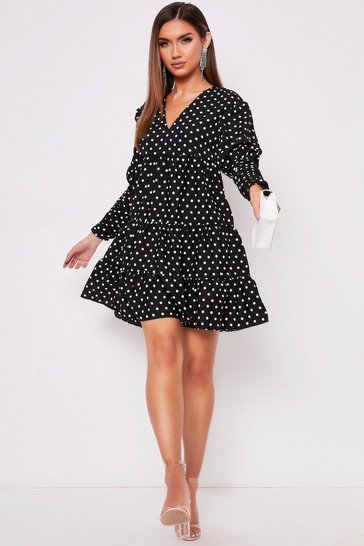 Womens Black Polka Dot Tiered Dress