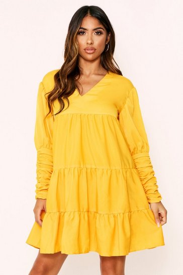 Womens Mustard Tiered Shirred Dress